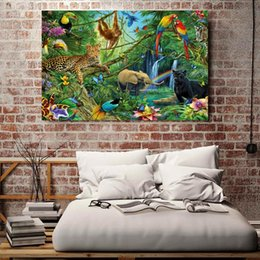 2019 pinturas da selva 1 Peças Animais Reino Da Selva Da Parede Da Arte Da Lona Fotos Para Sala de estar Quarto Home Decor Pinturas Da Lona Impressa pinturas da selva barato
