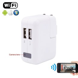 Wholesale Power Adapter Hidden Camera - 1080P Wifi Spy Camera USB Power Adapter Wireless Surveillance Charger Hidden Camera Real Wall AC Plug Spy Camera EU US UK Plug