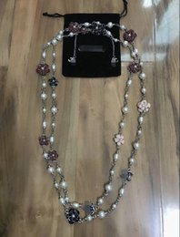 Wholesale Pearl Multi Chain Necklace - High quality new winter long section of multi-flower pearl necklace