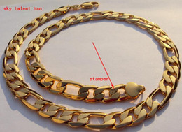 Wholesale Heavy Solid 24k Gold Necklaces - NEW MEN HEAVY 10mm STAMP 24K REAL YELLOW SOLID GOLD GF AUTHENTIC FINISH MIAMI CUBAN LINK CHAIN NECKLACE