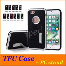Wholesale Iphone 5s Case Cheap - Cheap Carbon Fiber Kickstand Case Hybrid Soft TPU Gel PC stand Armor Shockproof Cover For iPhone 7 Plus 6S 6 SE 5S 5 Samsung Galaxy S7 Edge