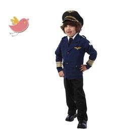 Wholesale Halloween Captain Uniform - pilot captain costumes for boys halloween costumes for boys halloween cosplay clothing uniform costume