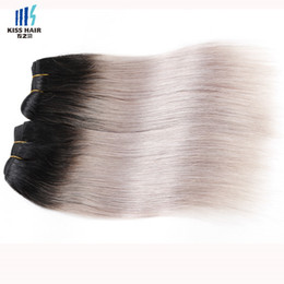 Wholesale Short Straight Hair Extensions - Tissage Indian Ombre Hair 3 Bundles Straight Raw Virgin Indian Hair T 1b Grey Short Ombre Style Indian Straight Human Hair Extensions