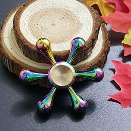 Wholesale Toy Demon - Rainbow Color White Bone Demon Six Arm King Kong Molecule Fidget Spinner Colorful EDC Gyro Toys Hand Spinner Fidget Metal Fidget HandSpinner