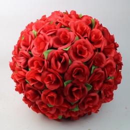 Wholesale 12 cm rosa artificiale fiore di seta rosso baci palle per ornamenti di Natale decorazioni per feste di nozze forniture