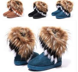 botas de inverno longas Desconto Moda Pele De Raposa Quente Outono Inverno Cunhas Mulheres Neve Botas Sapatos GenuineI Mutação Senhora Botas Curtas Casuais Sapatos de Neve Longa