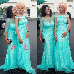 Wholesale Peplum Mermaid Dress For Prom - Turquoise Two Styles Arabic Bridesmaid Dresses For Wedding Lace Covered Satin Mermaid Maid Of Honor Gowns Women Prom Party Dresses