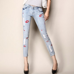 Wholesale Tight Cowboy - Wholesale- 2016fashion women summer tight sexy lips decoration jeans Women hole package hip slim seven minutes of pants cowboy pencil pants