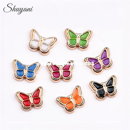 Wholesale Memories Lockets - 20pcs lot Wholesale Mix Enamel Butterfly Charms Animal Butterfly Floating Locket Charms fit Living Memory Locket