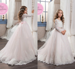 Wholesale Girls Pretty Tops - 2017 Pretty Flower Girl Dresses Pink Custom Made Princess Long Sleeves Lace Top Girls Pageant Gowns Bow Kids First Communion Gowns
