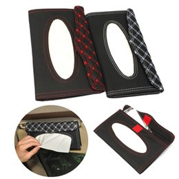 Wholesale Quality Sun Visor Accessories - Wholesale-High quality Car Sun Visor PU leather Tissue Paper Box Case Auto Interior Decoration Accessories Holder Napkin Clip
