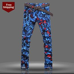 Wholesale Free Drawing Patterns - Wholesale-Men's colored drawing sky print jeans 2015 new arrival fashion printed pattern denim pants Fancy long trousers Free shipping