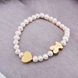 Wholesale Colour Heart - New pulsera mujer oso Stainless Steel Pearl Beaded Heart charms Bracelet Jewelry Classic panda Style For Women High Quality Europe 3 Colours