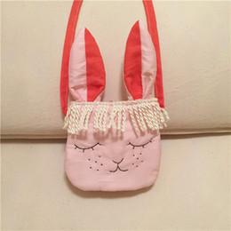 Wholesale Smile Handbags - Everweekend Girls Cartoon Smile Bunny Handbag Tassels Ears Purse Cross-Body Bags Candy Color Cross Bags Sweet Children Cute Accessories