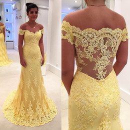 Wholesale Lemon Lights - 2017 Lemon Yellow Mother Of The Bride Dresses Off Shoulder Lace Appliques Formal Evening Gowns Pearls Floor Length Mother Of The Bride