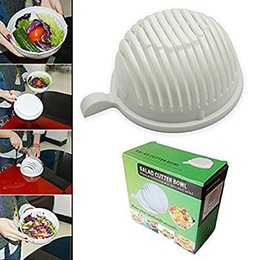 Wholesale Vegetable Cuts - Salad Cutter Bowl Healthy Fresh Vegetable Fruits Cut Bowls Plastic White Dish Make Easy In 60 Second Quick Kitchen Maker Tools 8 2mw1