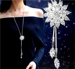 Wholesale Long Flower Crystal Pendant Necklace - Korean fashion sweater chain long tassel Crystal Pendant Necklace high-grade all-match