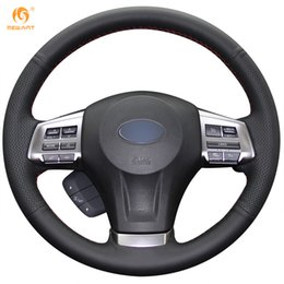 Wholesale Subaru Xv - Mewant Black Genuine Leather Steering Wheel Cover for Subaru Forester 2013-2015 Legacy 2013-2014 Outback 2013-2014 XV 2013-2015