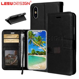 Wholesale transparent flip case - LEEU DESIGN PU leather Wallet Case Card Slots 3 pockets Photo Frame Flip Kickstand for iphone x 8 7 6 plus s9 J3 J7 j4 J6 A8 2018 P20 lite