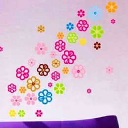 Wholesale Vinyl Wall Flower - Flower Wall Stickers Bedroom Art Decal Removeable Wallpaper Mural Sticker for Kids Room Girl Living Room Adhesive Decorative