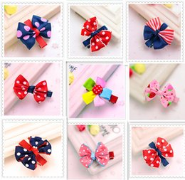 Wholesale Kids Hair Bobbles - Grosgrain ribbon Bows flower double prong clips covered hairpin Baby Bowknot hair Elastic bobbles bow hairband Hair Accessories kids