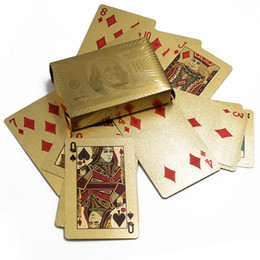 Wholesale Big Games Free - New Hot 3 designs Gold foil plated playing cards Plastic Poker US dollar   Euro Style   General style 150pcs DHL FEDEX FREE