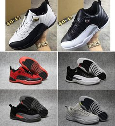 Wholesale Retro 12 Taxi Size 13 - Cheap air retro 12 low Playoffs Taxi men basketball shoes new Georgetown Toro Black Olive Suede sports sneakers US size 8-13 With Box