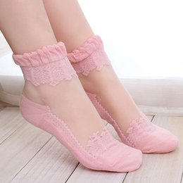 Wholesale Elastic Ruffle Trim - Wholesale-1Pair Women Lace Ruffle Ankle Sock Soft Comfy Sheer Silk Cotton Elastic Mesh Knit Frill Trim Transparent Ankle Socks DP676971