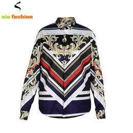 Wholesale Luxury Men Dress Shirt - Newest Unique Design Luxury Men Shirt Chemise Homme Retro 3D Gold Floral Long Sleeve Slim Dress Shirts Baroque Royal Men Clothes