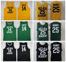 Wholesale Fresh M - OF The Fresh Prince Jerseys Basketball 14 Will Smith 25 Carlton Banks Jersey BEL-AIR BEL AIR Academy Yellow Black Green White (TV Sitcom)