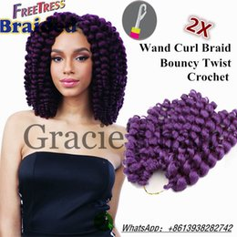 """Wholesale Short Curly Hair Piece - Attractive FreeTress Ringlet Wand Curl 2X Synthetic Braiding Hair Crochet 8"""" 20strands Heat Resistant Short Curly Weave Ringlets afro twist"""