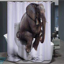 Wholesale Hook Free Shower Curtain - Elephant Toilet Quality Polyester Fabric Shower Curtains Waterproof Mildew Resistant Bathroom Supplies Curtains With Hooks Free Shipping