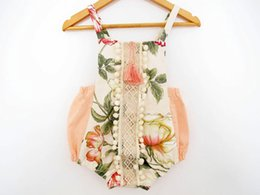 Wholesale Red Lotus - 2017 summer baby girl lace floral rompers Newborn Infant child Girl sweet Clothes Tassels Strap Lotus Romper Bodysuit Jumpsuit