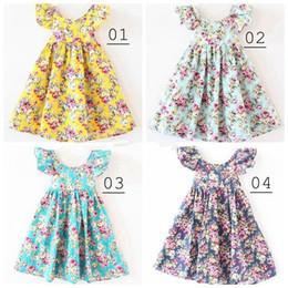 Wholesale Chiffon Flower Girl Dresses Floral - Girl summer dress baby girl broken flower dress children lemon print princess party dess 12colors can choose