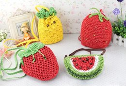 Wholesale Knit Strawberry - Wholesale-New pineapple strawberry fruit bag Knitted bag watermelon straw aslant beach bag female small coint purse