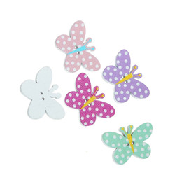 Wholesale Hair Holes - Cute Butterfly Shape Wooden Sewing Button With 2 Holes Buttons 25x17mm For Headbands Hair Bows Craft Projects Pack Of 100pcs I523L