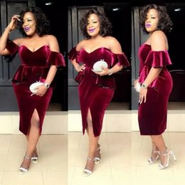 Wholesale White Velvet Tea Length Dress - 2018 African Burgundy Velvet Short Cocktail Dresses Sexy Off Shoulder Side Split Plus Size Prom Dress Formal Celebrity Party Gowns