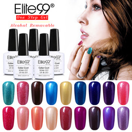 Wholesale One Step Gel Nail Polish - Wholesale- Elite99 New Arrival One Step UV Gel 3 in 1 Gel Polish Alcoholic Removal One Step Gel LED Soak off Long Lasting Nail Polish 10ml