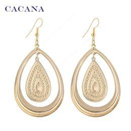 Wholesale Bijouterie Earrings - CACANA Gold Plated Dangle Long Earrings For Women Pattern Water Drop Within Big One Bijouterie Hot Sale No.A473 A474