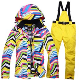Wholesale Cheap Cross Clothing - Wholesale- Cheap Snow Clothing Zebra crossing Women ski suit sets snowboard costume windproof therma outdoor Winter Snow jacket + bib pant