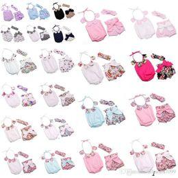 Wholesale Bunny Kids Clothes - Baby clothes Girl Romper Floral Petal collar Rompers + Bow Shorts +Bunny Ear Headband Infant 3pcs Set kids summer jumpsuits bodysuit 2017
