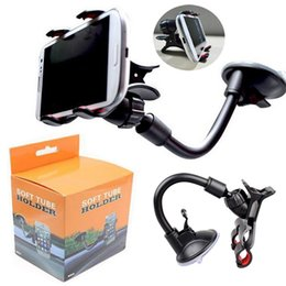Wholesale Windshields Wholesale - Car Mount Long Arm Universal Windshield Dashboard Mobile Phone Car Holder 360 Degree Rotation Car Holder with Strong Suction Cup X Clamp