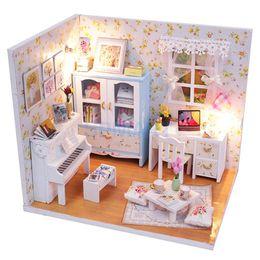Wholesale Miniature Wood Light House - Wholesale- DIY 3D Wooden Handcraft Miniature Doll House Kit Study Room with LED Lights & Dust Cover - Hemiola's Room
