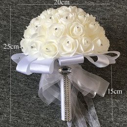 Wholesale Wedding Bouquet Bridesmaid - Wholesale Cream White Bouquets Handmade Flowers Rhinestones Rose Bridesmaid Bridal Artificial Holding Brooch Bouquet Silk Ribbon