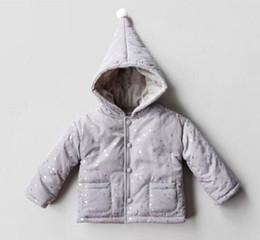 Wholesale Boys Girls Winter Cashmere Coat - 2017 Ins kids boy silver stars print hooded winter warm gray coat little boy winter outwear think cashmere coat buttons long sleeve coat