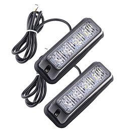 Wholesale Emergency Flashing Led Light Bar - 4-LED White & Amber Waterproof Emergency Beacon Flash Caution Strobe Light Bar 16 different flashing Car SUV Pickup Truck Van (2 pcs)