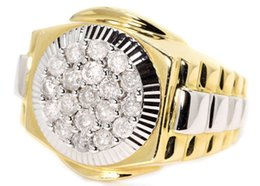 Wholesale Mens 14k White Gold Rings - Round Pave 19 Stone Mens Diamond Fashion Ring in 14K White and Yellow Gold 1 Ct