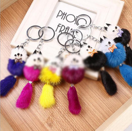 Wholesale Mink Car - High quality Fashionable fur keychain cute Little Fox head simulation Mink fur key chain for women Car Keyring Bag Earrings Accessories