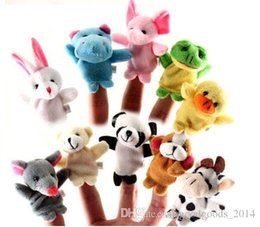 Wholesale Hand Puppets Toys - 600pcs  lot Cartoon Animal Velvet Finger Puppet Finger Toy Finger Doll Baby Cloth Educational Hand Toy Story b329