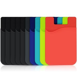 Wholesale Silicone Wallet Pouch For Phone - Cell Phone Card Holder Wallet Self Adhesive Silicone Sticker Credit Card ID Wallet Case Pouch Sleeve Pocket for iPhone 5 6 6s 7